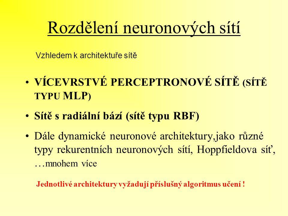 Rozdělení neuronových sítí VÍCEVRSTVÉ PERCEPTRONOVÉ SÍTĚ (SÍTĚ TYPU MLP ) Sítě s radiální bází (sítě typu RBF) Dále dynamické neuronové architektury,j