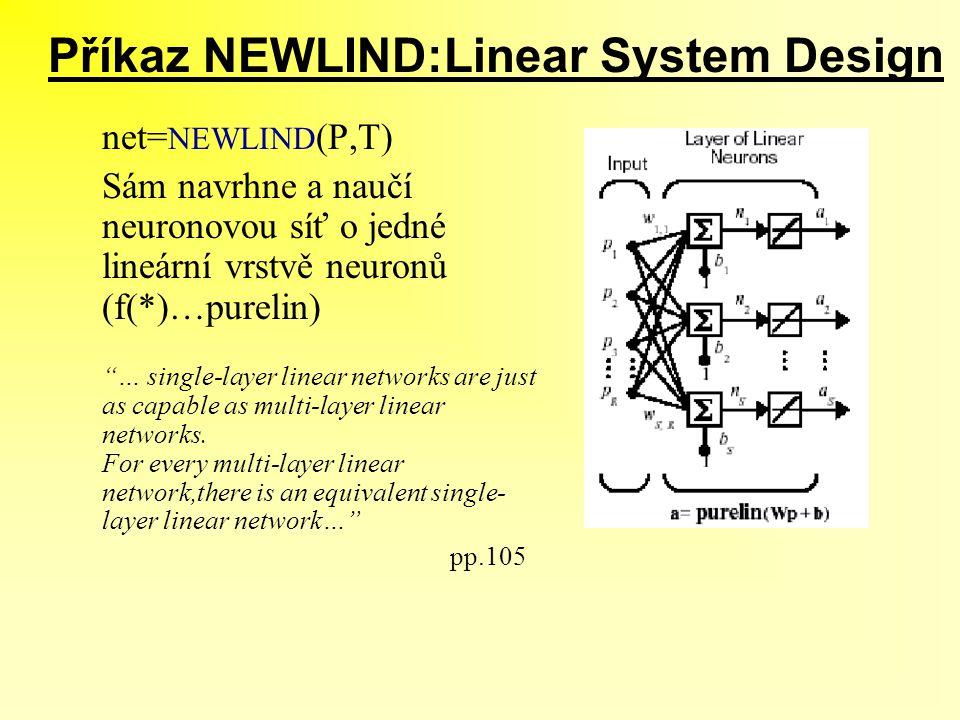 """Příkaz NEWLIND:Linear System Design net= NEWLIND (P,T) Sám navrhne a naučí neuronovou síť o jedné lineární vrstvě neuronů (f(*)…purelin) """"… single-lay"""