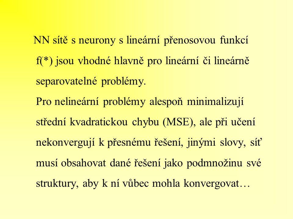 NN sítě s neurony s lineární přenosovou funkcí f(*) jsou vhodné hlavně pro lineární či lineárně separovatelné problémy. Pro nelineární problémy alespo