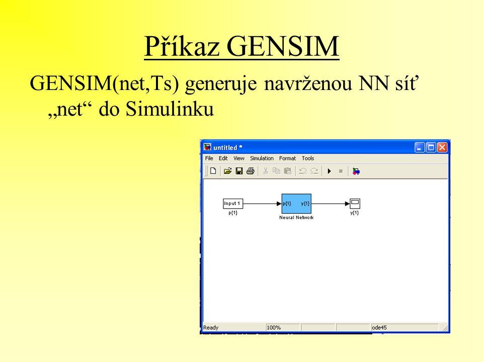 """Příkaz GENSIM GENSIM(net,Ts) generuje navrženou NN síť """"net"""" do Simulinku"""