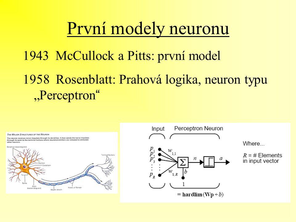 """První modely neuronu 1943 McCullock a Pitts: první model 1958 Rosenblatt: Prahová logika, neuron typu """"Perceptron """""""