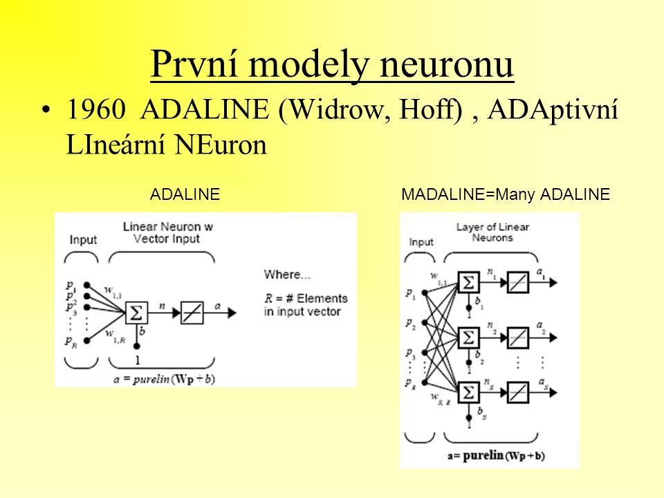 První modely neuronu 1960 ADALINE (Widrow, Hoff), ADAptivní LIneární NEuron ADALINEMADALINE=Many ADALINE
