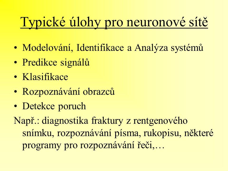 Typické úlohy pro neuronové sítě Modelování, Identifikace a Analýza systémů Predikce signálů Klasifikace Rozpoznávání obrazců Detekce poruch Např.: di