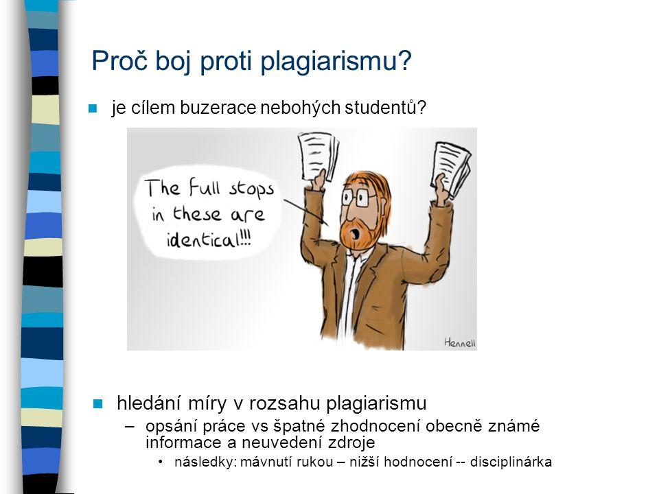Proč boj proti plagiarismu. je cílem buzerace nebohých studentů.