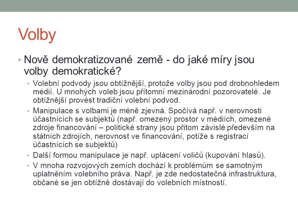 Volby Nově demokratizované země - do jaké míry jsou volby demokratické.