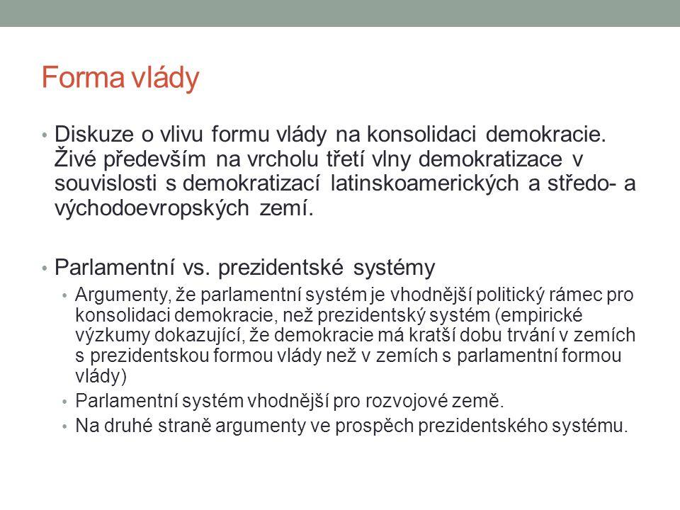 Forma vlády Diskuze o vlivu formu vlády na konsolidaci demokracie.