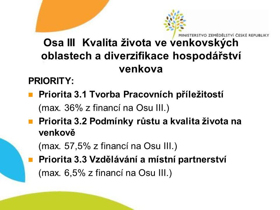 Osa III Kvalita života ve venkovských oblastech a diverzifikace hospodářství venkova PRIORITY: Priorita 3.1 Tvorba Pracovních příležitostí (max. 36% z