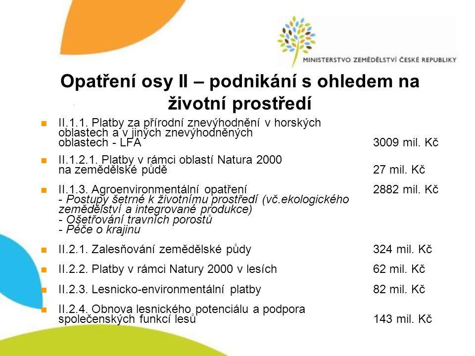 Opatření osy II – podnikání s ohledem na životní prostředí II.1.1. Platby za přírodní znevýhodnění v horských oblastech a v jiných znevýhodněných obla
