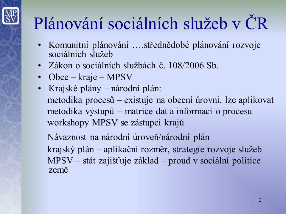 """3 MPSV: veřejná zakázka """"Zajištění místní a typové dostupnosti sociálních služeb Nejdůležitější výstupy zakázky: a)Metodiky pro plánování soc."""