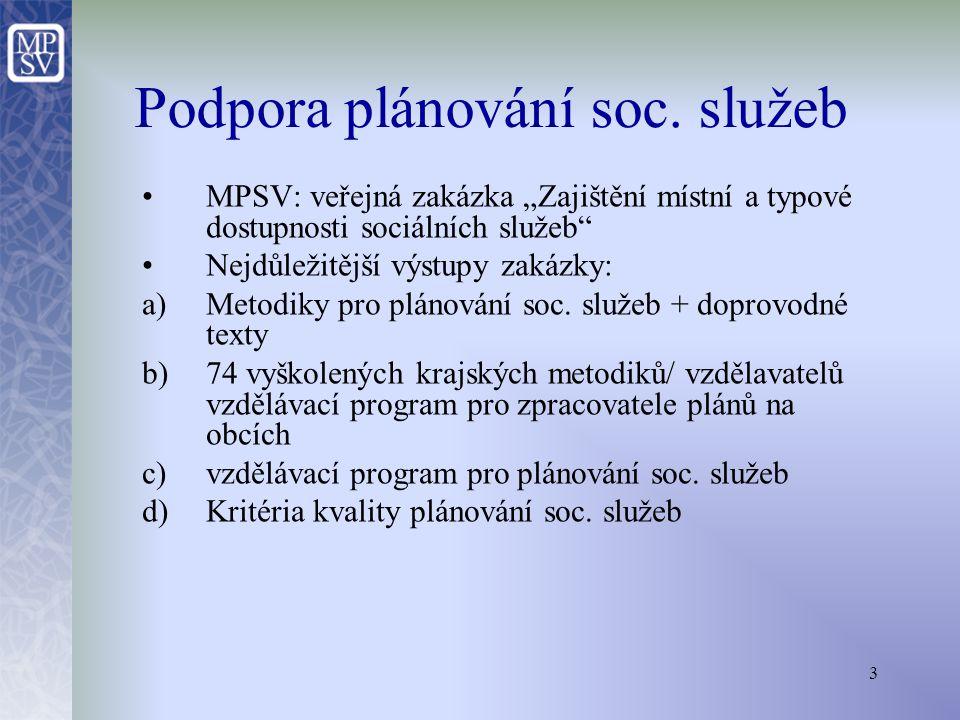 4 Obecná podpora plánování soc.služeb ze strany MPSV Metodiky plánování soc.