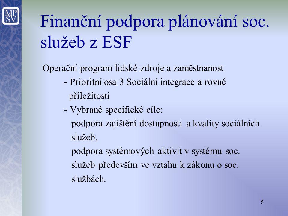 5 Operační program lidské zdroje a zaměstnanost - Prioritní osa 3 Sociální integrace a rovné příležitosti - Vybrané specifické cíle: podpora zajištění dostupnosti a kvality sociálních služeb, podpora systémových aktivit v systému soc.