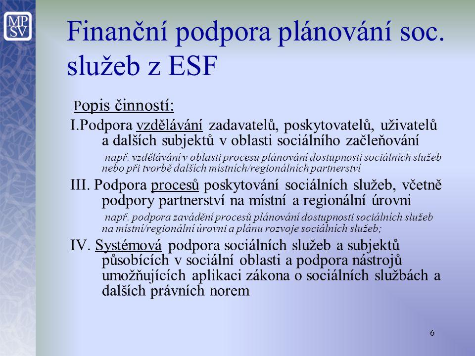 7 Typ a forma podpory: a) Individuální projekty systémového a regionálního charakteru (příjemci: odbor soc.