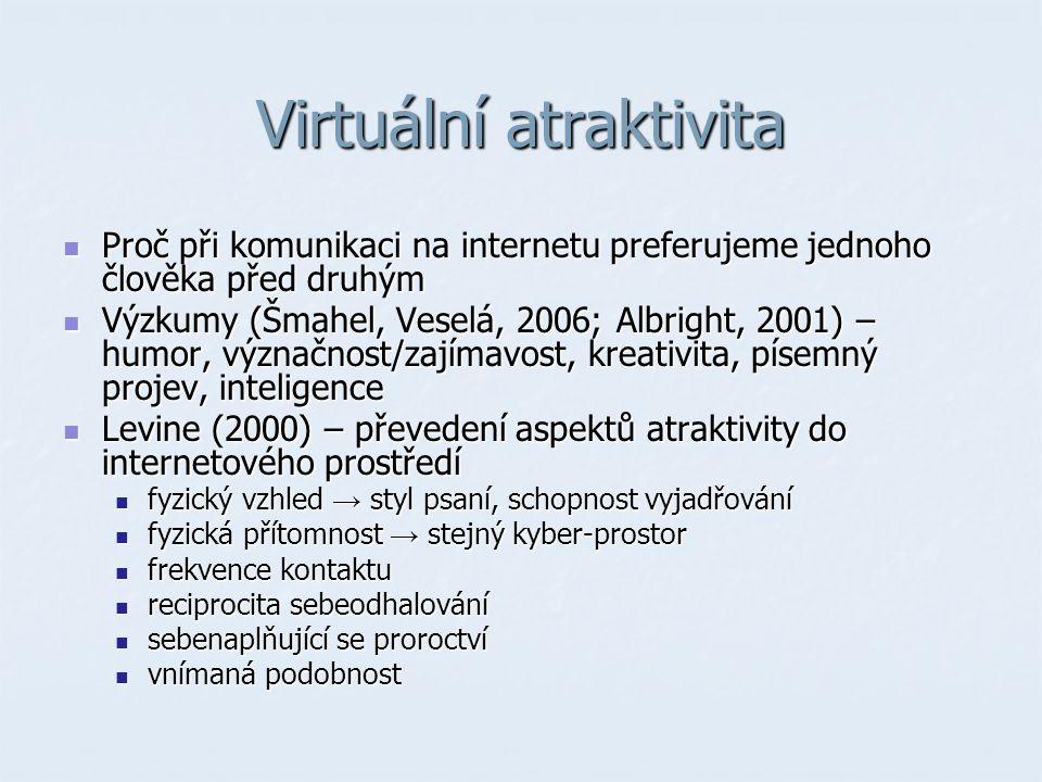 Virtuální atraktivita Proč při komunikaci na internetu preferujeme jednoho člověka před druhým Proč při komunikaci na internetu preferujeme jednoho člověka před druhým Výzkumy (Šmahel, Veselá, 2006; Albright, 2001) – humor, význačnost/zajímavost, kreativita, písemný projev, inteligence Výzkumy (Šmahel, Veselá, 2006; Albright, 2001) – humor, význačnost/zajímavost, kreativita, písemný projev, inteligence Levine (2000) – převedení aspektů atraktivity do internetového prostředí Levine (2000) – převedení aspektů atraktivity do internetového prostředí fyzický vzhled → styl psaní, schopnost vyjadřování fyzický vzhled → styl psaní, schopnost vyjadřování fyzická přítomnost → stejný kyber-prostor fyzická přítomnost → stejný kyber-prostor frekvence kontaktu frekvence kontaktu reciprocita sebeodhalování reciprocita sebeodhalování sebenaplňující se proroctví sebenaplňující se proroctví vnímaná podobnost vnímaná podobnost