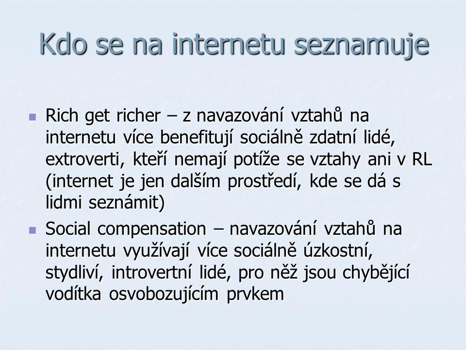 Kdo se na internetu seznamuje Rich get richer – z navazování vztahů na internetu více benefitují sociálně zdatní lidé, extroverti, kteří nemají potíže se vztahy ani v RL (internet je jen dalším prostředí, kde se dá s lidmi seznámit) Rich get richer – z navazování vztahů na internetu více benefitují sociálně zdatní lidé, extroverti, kteří nemají potíže se vztahy ani v RL (internet je jen dalším prostředí, kde se dá s lidmi seznámit) Social compensation – navazování vztahů na internetu využívají více sociálně úzkostní, stydliví, introvertní lidé, pro něž jsou chybějící vodítka osvobozujícím prvkem Social compensation – navazování vztahů na internetu využívají více sociálně úzkostní, stydliví, introvertní lidé, pro něž jsou chybějící vodítka osvobozujícím prvkem