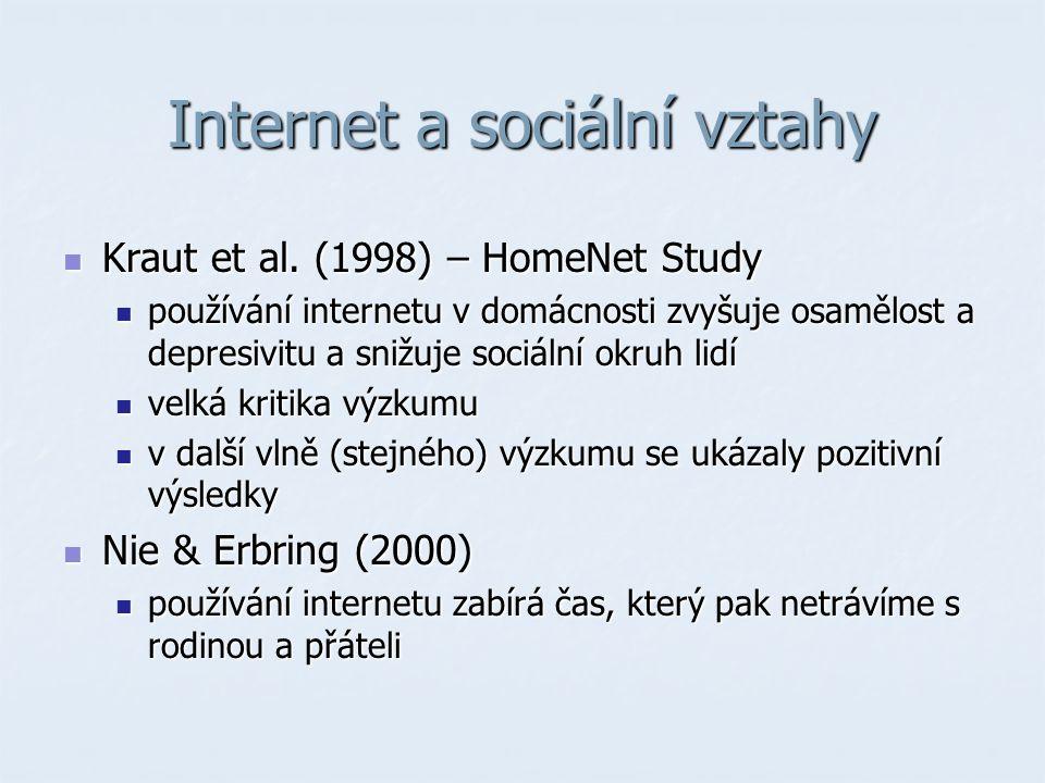 Internet a sociální vztahy Kraut et al. (1998) – HomeNet Study Kraut et al.