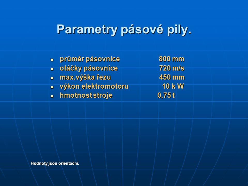 Parametry pásové pily. průměr pásovnice 800 mm průměr pásovnice 800 mm otáčky pásovnice 720 m/s otáčky pásovnice 720 m/s max.výška řezu 450 mm max.výš