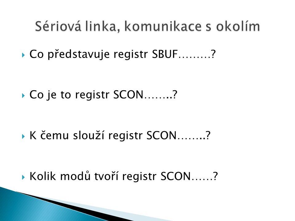  Co představuje registr SBUF……….  Co je to registr SCON……...