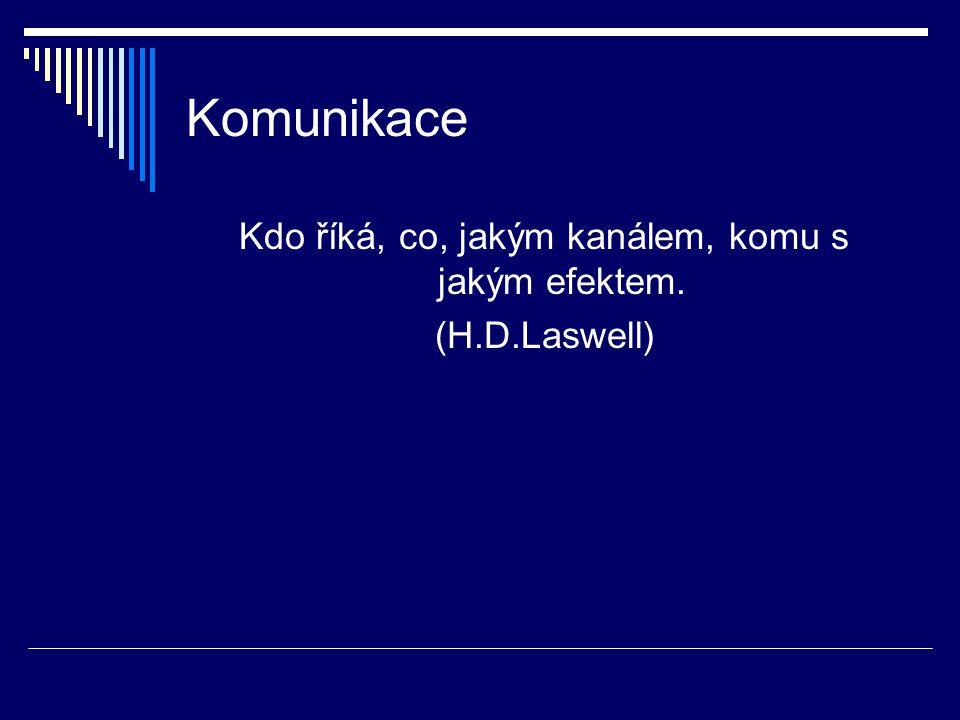 Komunikace Kdo říká, co, jakým kanálem, komu s jakým efektem. (H.D.Laswell)