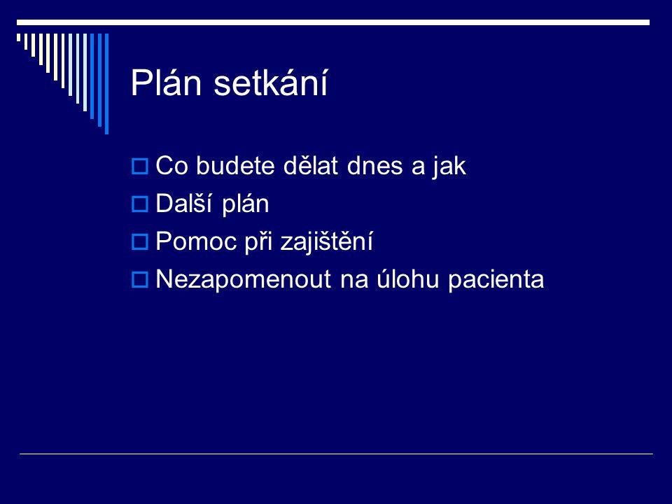 Plán setkání  Co budete dělat dnes a jak  Další plán  Pomoc při zajištění  Nezapomenout na úlohu pacienta