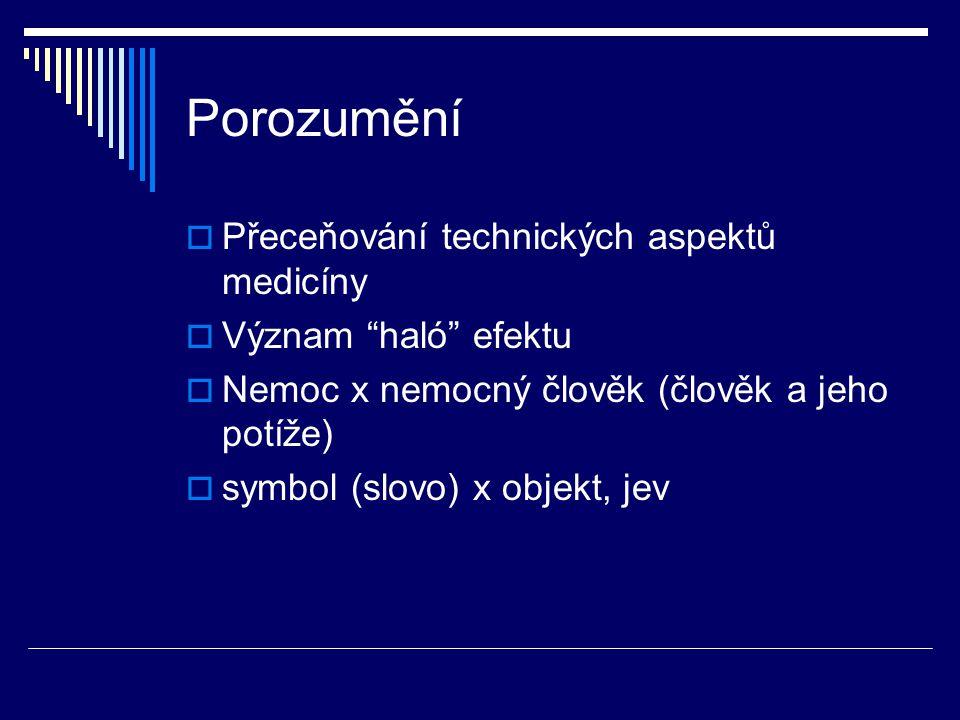 """Porozumění  Přeceňování technických aspektů medicíny  Význam """"haló"""" efektu  Nemoc x nemocný člověk (člověk a jeho potíže)  symbol (slovo) x objekt"""