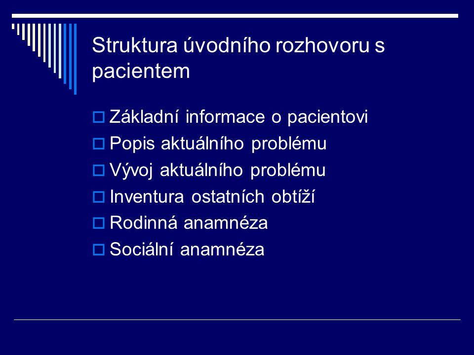 Struktura úvodního rozhovoru s pacientem  Základní informace o pacientovi  Popis aktuálního problému  Vývoj aktuálního problému  Inventura ostatní