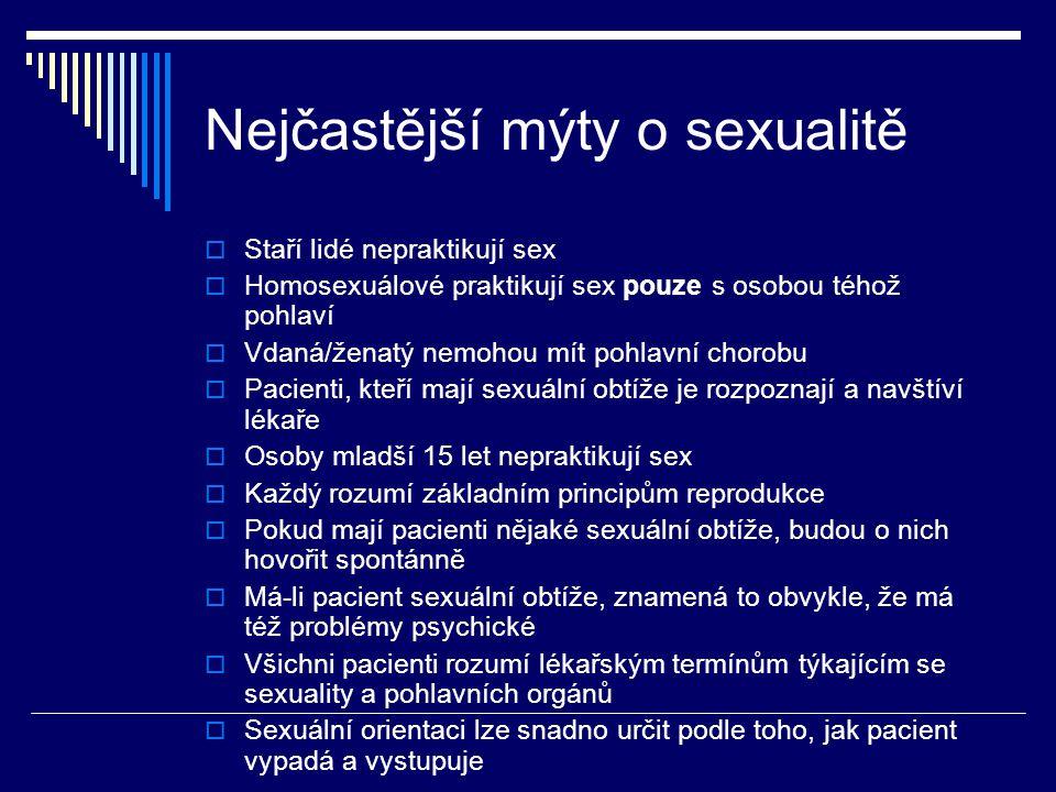 Nejčastější mýty o sexualitě  Staří lidé nepraktikují sex  Homosexuálové praktikují sex pouze s osobou téhož pohlaví  Vdaná/ženatý nemohou mít pohl
