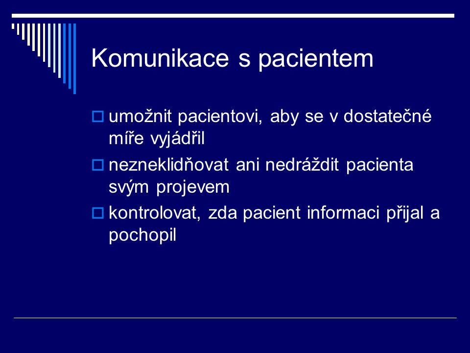 Komunikace s pacientem  umožnit pacientovi, aby se v dostatečné míře vyjádřil  nezneklidňovat ani nedráždit pacienta svým projevem  kontrolovat, zd