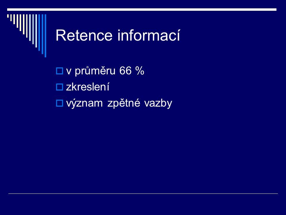 Retence informací  v průměru 66 %  zkreslení  význam zpětné vazby
