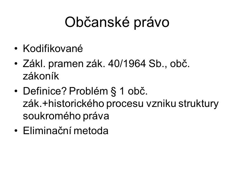 Občanské právo Kodifikované Zákl.pramen zák. 40/1964 Sb., obč.
