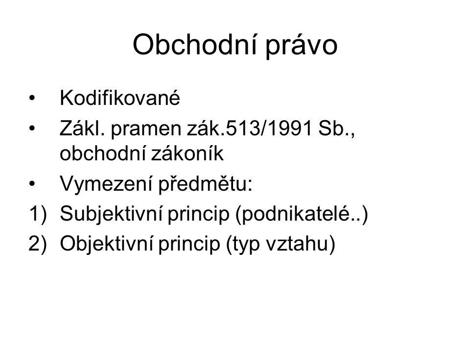 Obchodní právo Kodifikované Zákl.