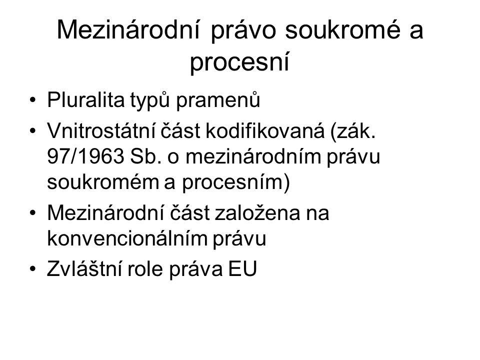 Mezinárodní právo soukromé a procesní Pluralita typů pramenů Vnitrostátní část kodifikovaná (zák.