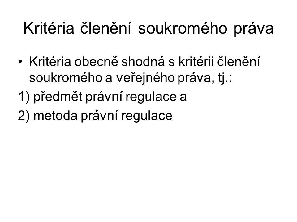 Kritéria členění soukromého práva Kritéria obecně shodná s kritérii členění soukromého a veřejného práva, tj.: 1) předmět právní regulace a 2) metoda právní regulace