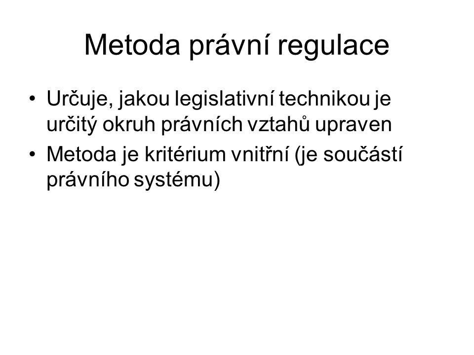 Metody právní regulace Veřejnoprávní ve vlastním smyslu = přítomnost veřejného zájmu = přímé uplatnění veřejné moci na právní vztahy = nástrojem úřední rozhodnutí (individuální právní akt) Soukromoprávní = nepřítomnost veřejného zájmu = nepřímé uplatnění veřejné moci (soukromoprávní statut účastníků + vyváženost jejich pozic + uplatnění veřejné moci ze soukromé iniciativy)