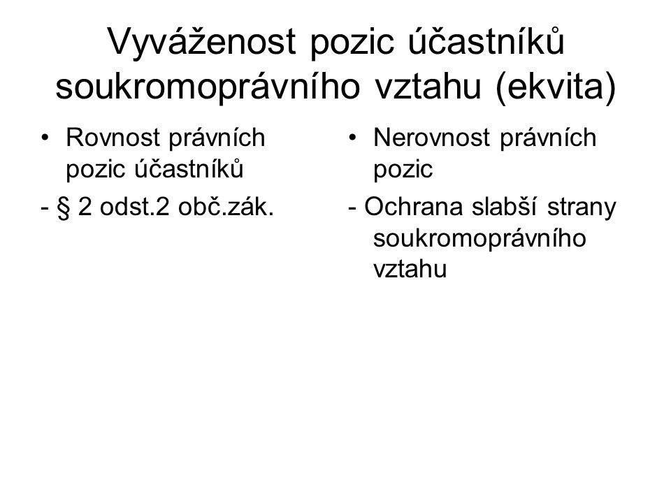 Vyváženost pozic účastníků soukromoprávního vztahu (ekvita) Rovnost právních pozic účastníků - § 2 odst.2 obč.zák.