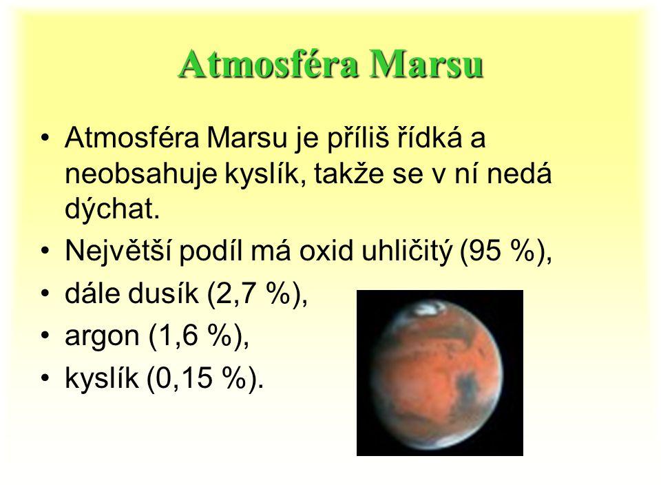 Mars v datech Průměr 6 804,9 km Vzdálenost od Slunce: průměrná v aféliu v perihéliu 227 936 637 km 249 228 730 km 206 644 545 km Doba oběhu kolem Slun