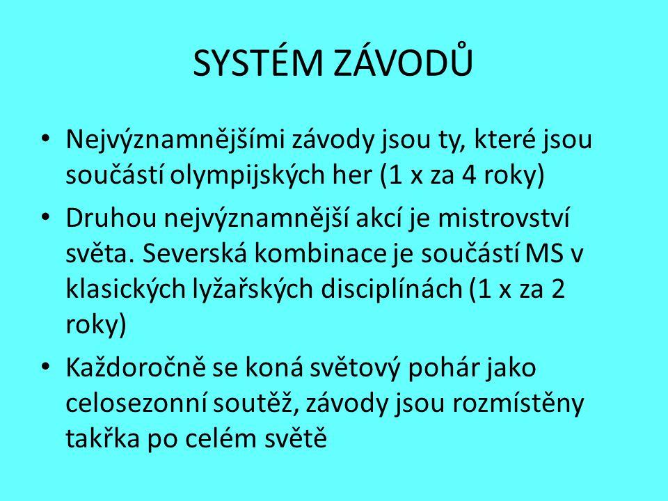 SYSTÉM ZÁVODŮ Nejvýznamnějšími závody jsou ty, které jsou součástí olympijských her (1 x za 4 roky) Druhou nejvýznamnější akcí je mistrovství světa. S