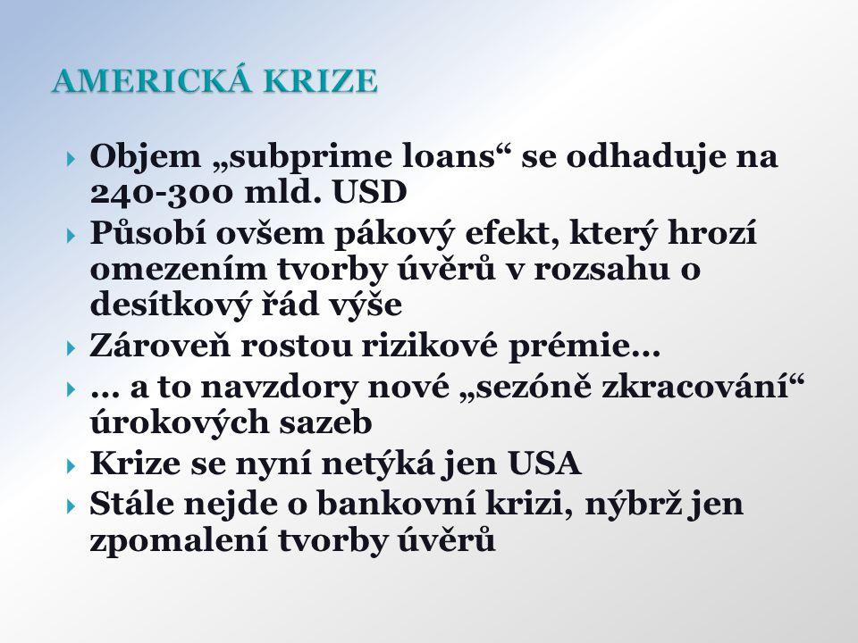 """ Objem """"subprime loans"""" se odhaduje na 240-300 mld. USD  Působí ovšem pákový efekt, který hrozí omezením tvorby úvěrů v rozsahu o desítkový řád výše"""