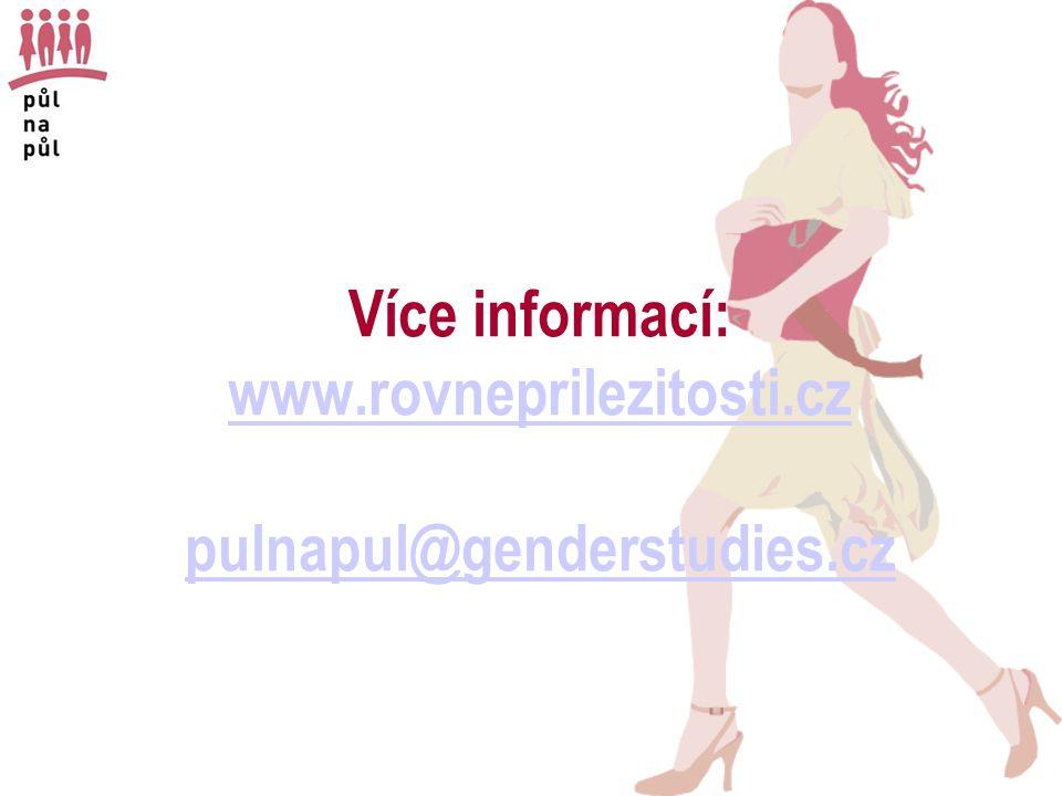 Více informací: www.rovneprilezitosti.cz pulnapul@genderstudies.cz www.rovneprilezitosti.cz pulnapul@genderstudies.cz