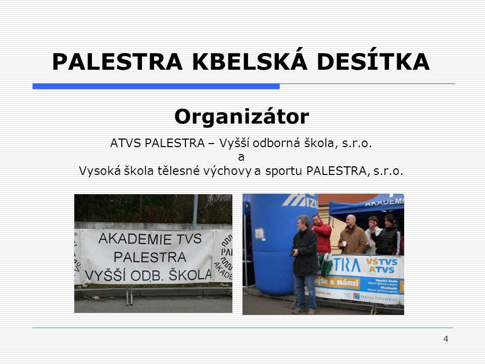 4 PALESTRA KBELSKÁ DESÍTKA Organizátor ATVS PALESTRA – Vyšší odborná škola, s.r.o.