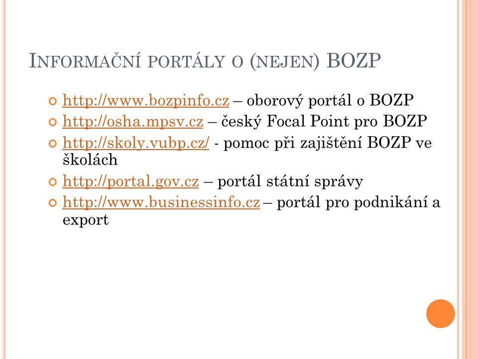 I NFORMAČNÍ PORTÁLY O ( NEJEN ) BOZP http://www.bozpinfo.czhttp://www.bozpinfo.cz – oborový portál o BOZP http://osha.mpsv.czhttp://osha.mpsv.cz – český Focal Point pro BOZP http://skoly.vubp.cz/http://skoly.vubp.cz/ - pomoc při zajištění BOZP ve školách http://portal.gov.czhttp://portal.gov.cz – portál státní správy http://www.businessinfo.czhttp://www.businessinfo.cz – portál pro podnikání a export