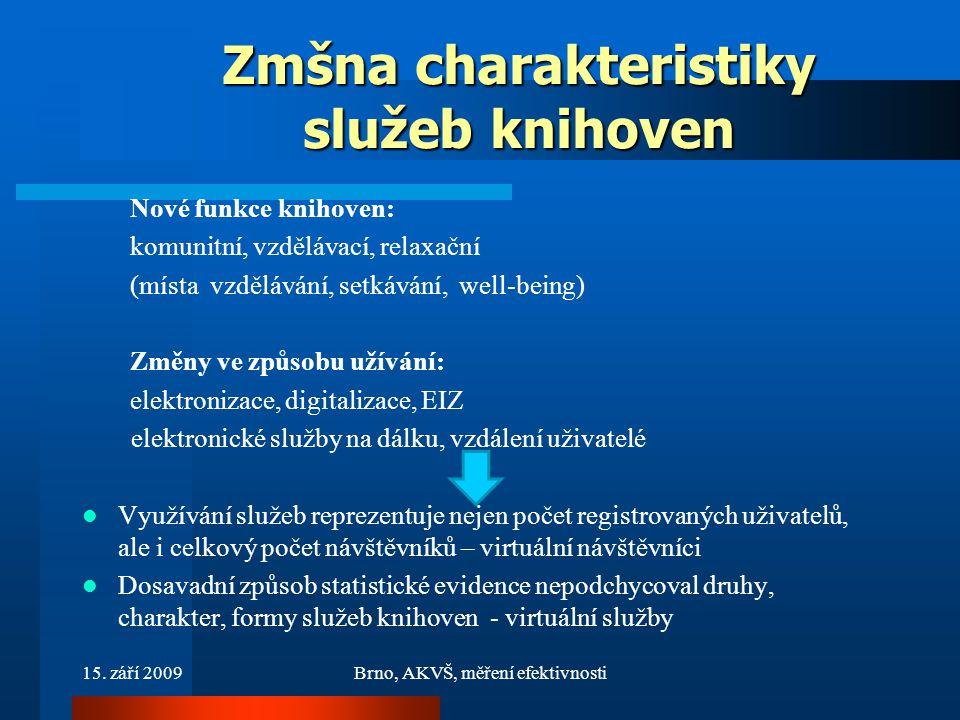 15. září 2009Brno, AKVŠ, měření efektivnosti Zmšna charakteristiky služeb knihoven Nové funkce knihoven: komunitní, vzdělávací, relaxační (místa vzděl