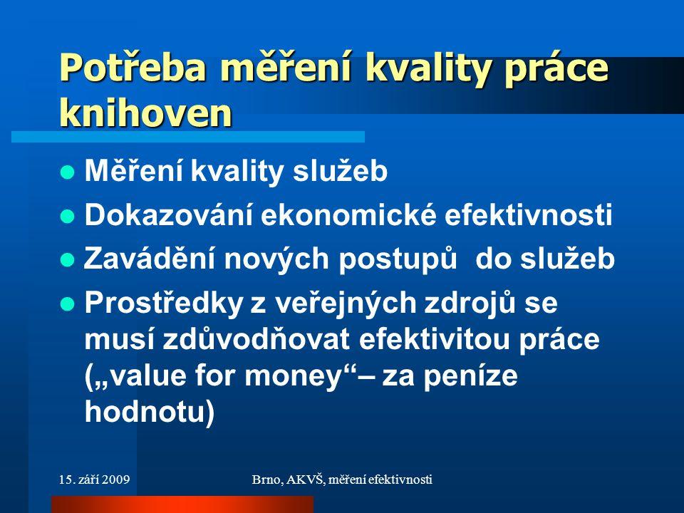 15. září 2009Brno, AKVŠ, měření efektivnosti Potřeba měření kvality práce knihoven Měření kvality služeb Dokazování ekonomické efektivnosti Zavádění n