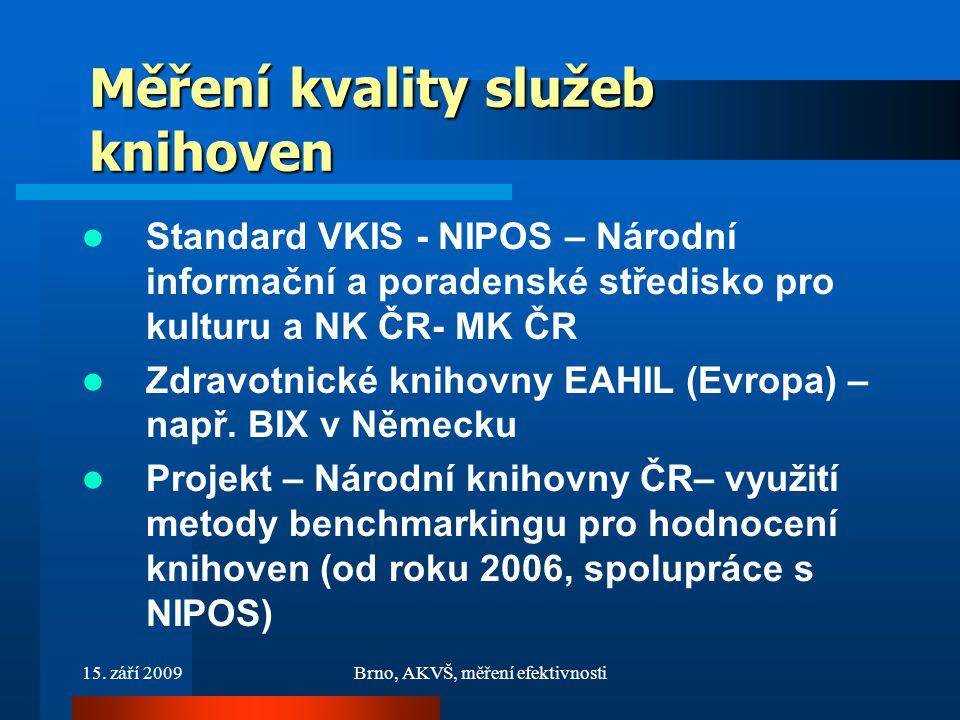 15. září 2009Brno, AKVŠ, měření efektivnosti Měření kvality služeb knihoven Standard VKIS - NIPOS – Národní informační a poradenské středisko pro kult
