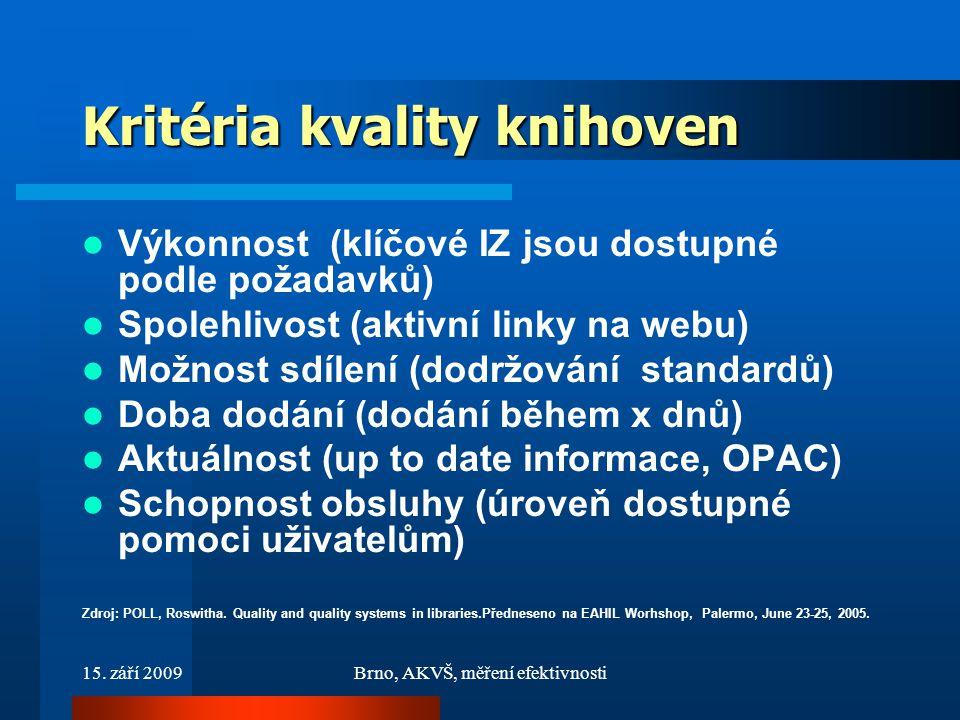 15. září 2009Brno, AKVŠ, měření efektivnosti Kritéria kvality knihoven Výkonnost (klíčové IZ jsou dostupné podle požadavků) Spolehlivost (aktivní link