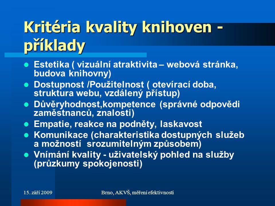 15. září 2009Brno, AKVŠ, měření efektivnosti Kritéria kvality knihoven - příklady Estetika ( vizuální atraktivita – webová stránka, budova knihovny) D