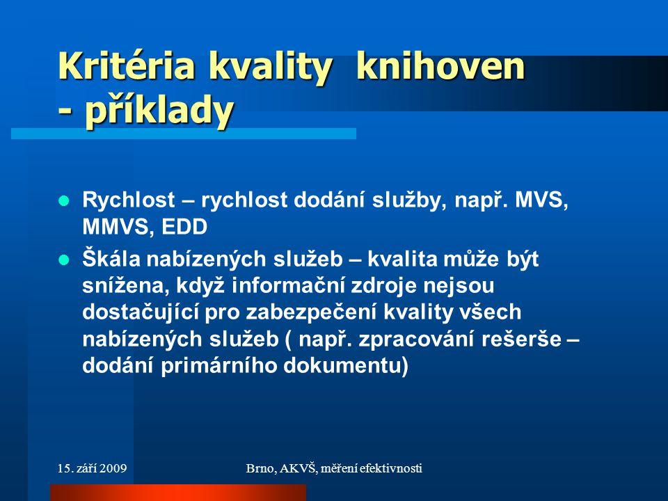 15. září 2009Brno, AKVŠ, měření efektivnosti Kritéria kvality knihoven - příklady Rychlost – rychlost dodání služby, např. MVS, MMVS, EDD Škála nabíze