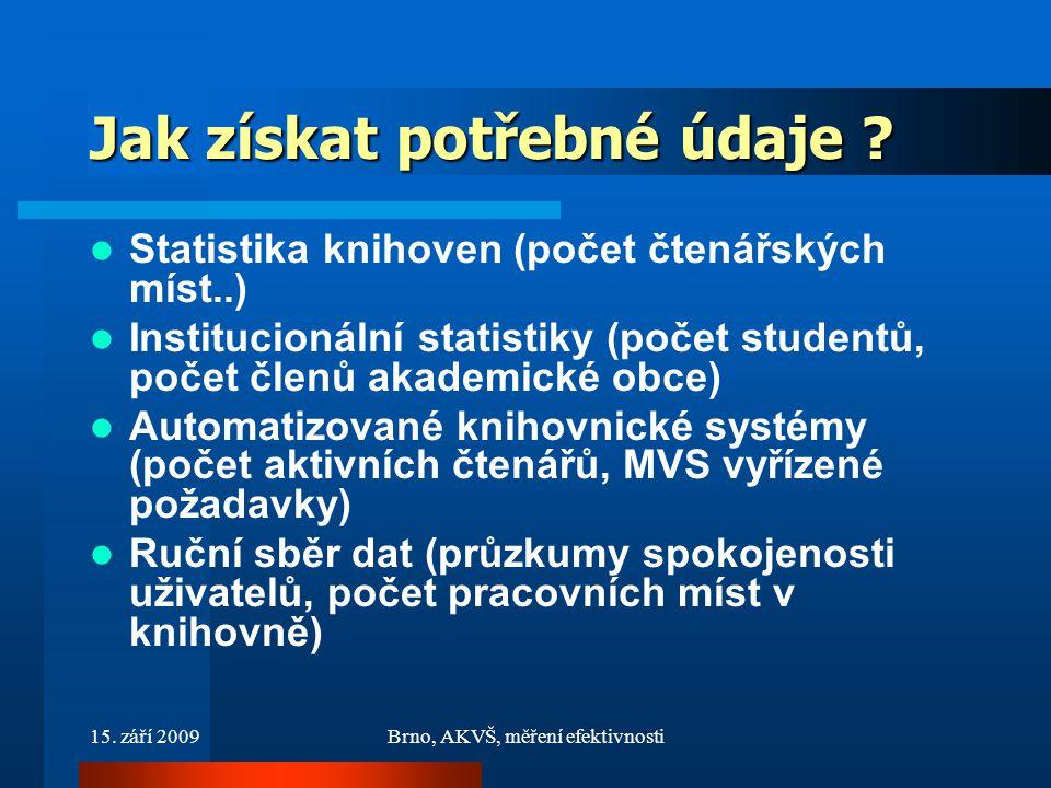 15. září 2009Brno, AKVŠ, měření efektivnosti Jak získat potřebné údaje .