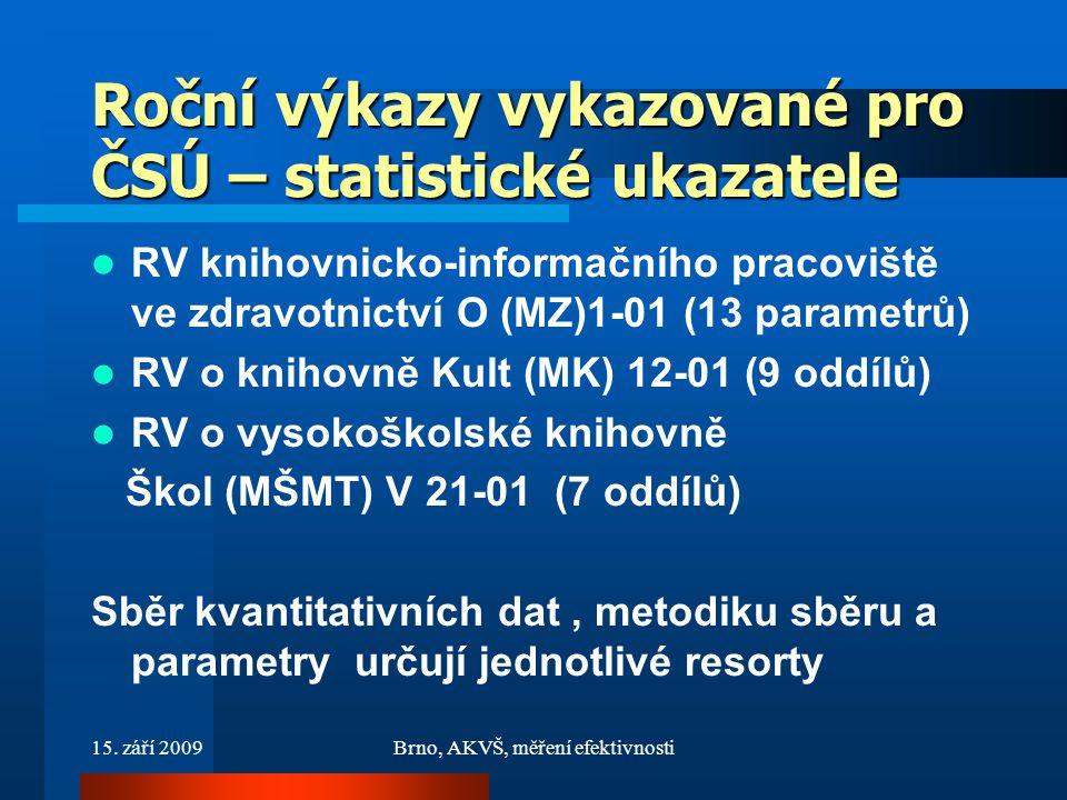 15. září 2009Brno, AKVŠ, měření efektivnosti Roční výkazy vykazované pro ČSÚ – statistické ukazatele RV knihovnicko-informačního pracoviště ve zdravot