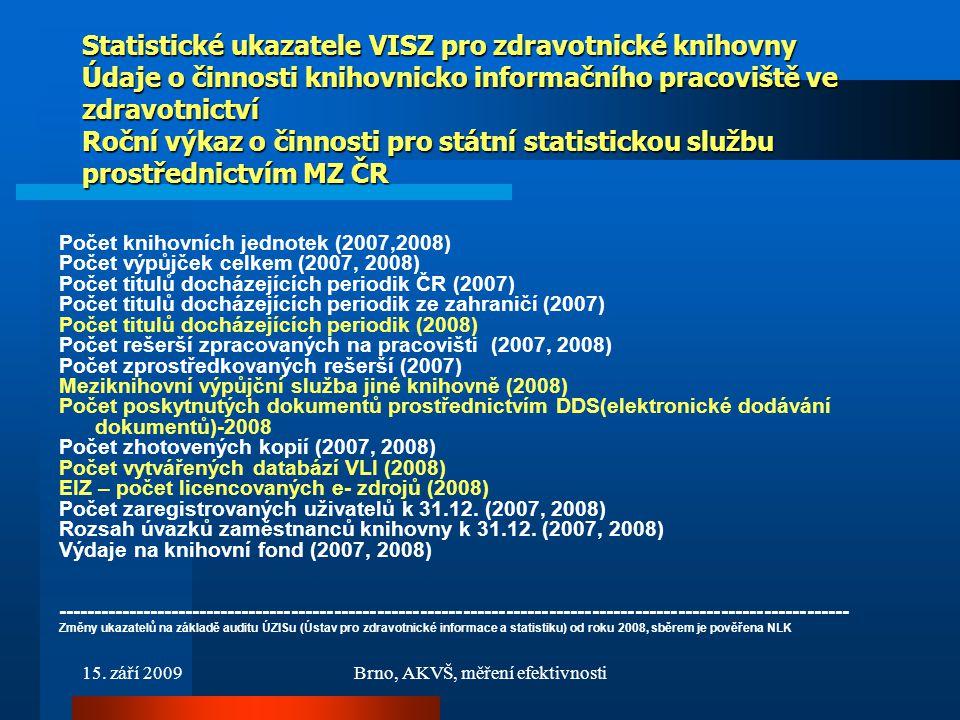15. září 2009Brno, AKVŠ, měření efektivnosti Statistické ukazatele VISZ pro zdravotnické knihovny Údaje o činnosti knihovnicko informačního pracoviště