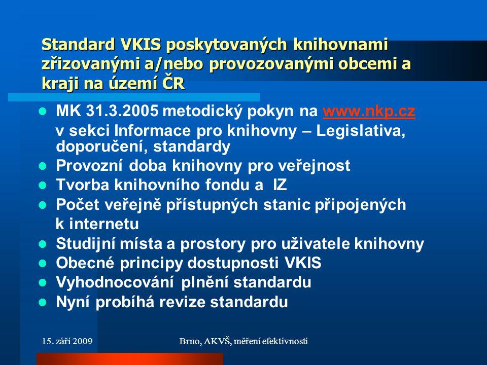 15. září 2009Brno, AKVŠ, měření efektivnosti Standard VKIS poskytovaných knihovnami zřizovanými a/nebo provozovanými obcemi a kraji na území ČR MK 31.